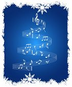 Christmas music notes vector background