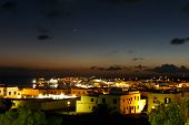 Aerial view of picturesque Harbor,Playa Blanca by Night, Lanzarote, Canary Islands, Spain.