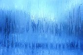 Blue Frost Background, Closeup Frozen Winter Window Pane Coated Shiny Icy Frost Patterns, Extreme No poster