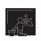 Wet Cleaning Black Vector Concept Icon. Wet Cleaning Flat Illustration, Sign poster