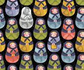 Matreshka russian doll seamless pattern.