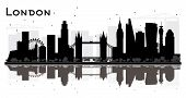London England City Skyline Silhouette with Black Buildings Isolated on White Background. London Cit poster