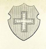 Wappen der Republik der Schweiz. Illustration von Alwin Zschiesche, veröffentlicht am