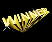Winner Text In Gold And 3D As Symbol For Success And Victory