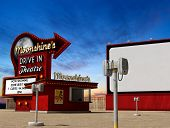 Traditional 1950s Drive-in Movie Theater, Cinema At Dusk, 3d Render, Illustarion poster