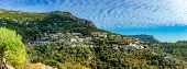Townscape Of Eze Village, Panoramic View Over The Historic House Architecture On The Hiil In Botanic poster