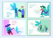 Set Of Landing Page Templates For Hobby Blog. People Enjoying Their Hobbies, Dancing, Riding A Scoot poster
