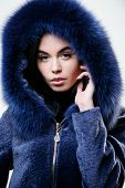 Female With Makeup Wear Dark Blue Soft Fur Coat. Woman Wear Hood With Fur. Fashion Concept. Girl Ele poster