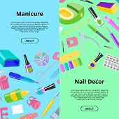 Manicure Seamless Pattern Vector Pedicure And Manicuring Accessory Or Tools Nail-file Or Scissors Of poster