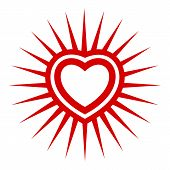Sunshine Heart Icon. Simple Illustration Of Sunshine Heart Icon For Web Design Isolated On White Bac poster