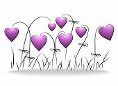 Flowers - romantic floral background with purple hearts