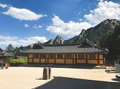 Asian House Of The Temple In Seoraksan National Park. South Korea poster