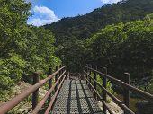 The Small Iron Bridge In Seoraksan National Park. South Korea poster