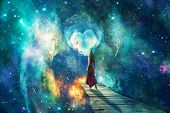 Beautiful Artistic Universe With Standing Woman. Colorful Landscape With Bright Supernovas. Cyan Bea poster