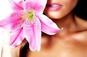 Beauty model with flower