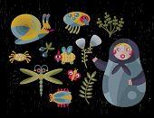 Matreshka doll and insects.