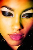 Close-up portrait of sexy African young woman model with retro glamour make-up