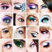 Collage of closeup eyes