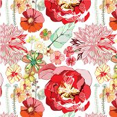 picture of petunia  - seamless pattern with red flowers - JPG