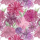 seamless pattern with dehlia