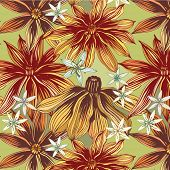 seamless pattern with orange flowers