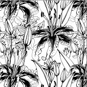 seamless pattern with black and white lilies