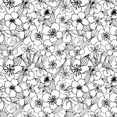 seamless black and white pattern with jasmine