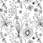 sweet seamless pattern with birds and flowers