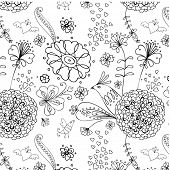 seamless monochrome pttern with birds and flowers