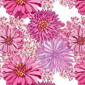 seamless pattern with lovely pink asters