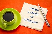 Create a circle of influence advice  - handwriting on a napkin with a cup of coffee poster