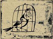 bird in hutch on grunge background, vector illustration
