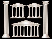 A vector illustration of a classical style white marble temples and pillars. Isolated on black background. EPS10 vector format