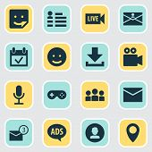 Internet Icons Set With Game, Profile, Advert And Other Personal Data Elements. Isolated  Illustrati poster