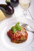 parmigiana eggplant on dish italian traditional recipe