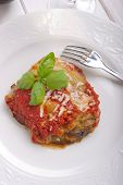 parmigiana eggplant on dish italian traditional recipe  close up