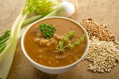 foto of phaseolus  - barley soup on bowl - JPG