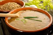 spelt soup on bowl