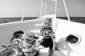 Adventure Concept. Sea Adventure. Little Child Enjoy Adventure On Ship. Say Yes To New Adventure. poster