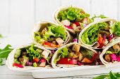 Chicken Burrito. Healthy Lunch.  Mexican Street Food Fajita Tortilla Wraps With Grilled  Chicken Fil poster