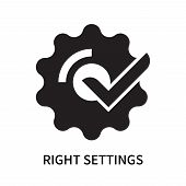 Right Settings Icon Isolated On White Background. Right Settings Icon Simple Sign. Right Settings Ic poster
