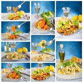 seafood collage shrimp,squid,claws