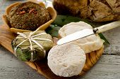 variety of french cheese over cheeseboard