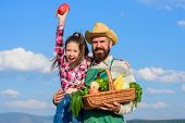 Man Bearded Rustic Farmer With Kid. Farmer Family Homegrown Harvest. Only Organic And Fresh Harvest. poster