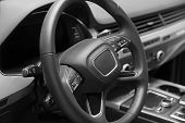 Leather Multifunction Steering Wheel In The Cabin Of A Premium Car. Installed Under The Steering Whe poster