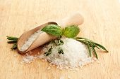 salt in shovel with fresh basil, rosemary and thyme on wooden background