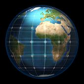 Planet earth in a spherical solar glass panel - isolated (Elements of this image furnished by NASA- earthmap  http://visibleearth.nasa.gov)
