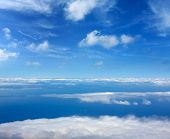 foto of canopy roof  - Blue perfect sky sea of clouds from high altitude in canary Islands - JPG