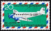 Postage stamp Germany 1969 Junkers 52, airplane