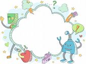 Doodle Illustration Featuring Robots Surrounded by Education Related Items